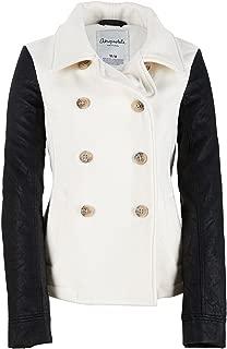 Aeropostale Womens Leather Sleeve Pea Coat