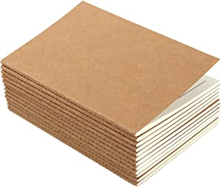 12 Pack Lined Notebook Kraft Brown Cover Journal Notebooks for Travelers, A5 Size, 80 Lined Pages/ 40 Sheets (Brown Cover)...