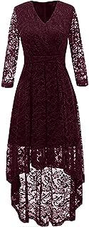 Women's Hi-Lo Cocktail Party Swing Dresses Vintage Floral Lace 3/4 Sleeves V-Neck Dress