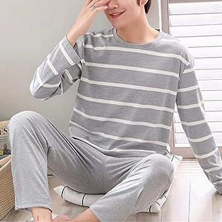 Pijamas De Hombre,Conjuntos De Pijamas De Otoño Para Hombre, Pijamas Finos Sueltos De Manga Larga Con Cuello Redondo, Ropa De Casa Para Hombre Con Letras Impresas, Traje Informal Suave, Ropa De