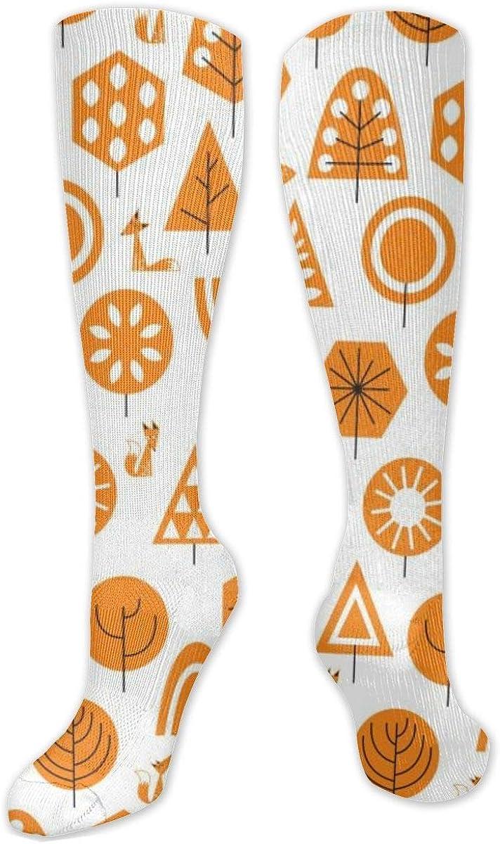 Orange Forest Fox Knee High Socks Leg Warmer Dresses Long Boot Stockings For Womens Cosplay Daily Wear