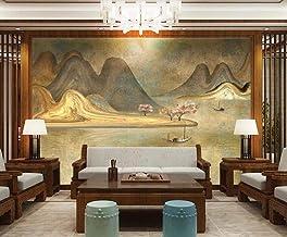 Behang 3D Behang Muurschilderingen Gouden Landschap en Bomen Muurschildering 3D Slaapkamer Behang voor Woonkamer Muur Papi...