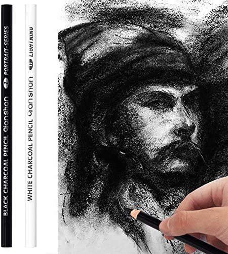 2 Pcs Black White Color Charcoal Pencils Professional Hight Quality Sketch Highlight Charcoal product image