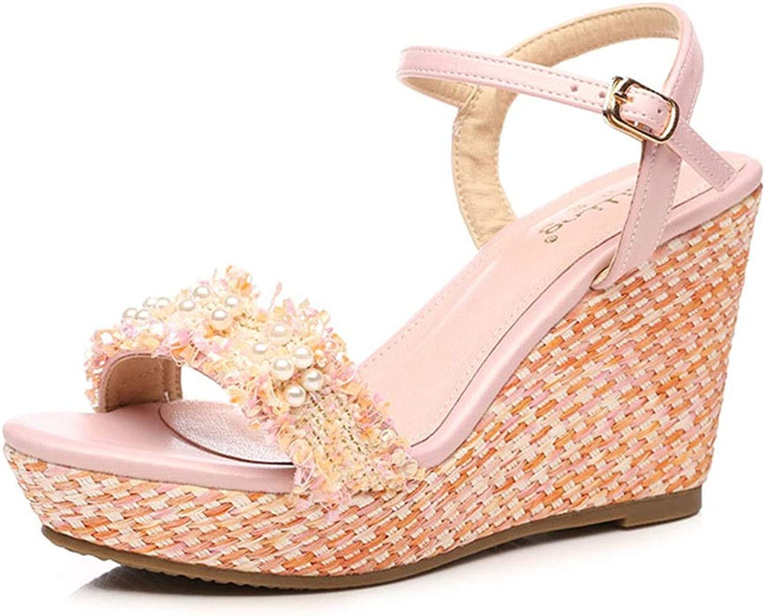 Sandals Girls shoes Sandals Summer Sexy Sandals Pearl Fringed Wedge Sandals Fashion Small Size Women's shoes, High Heels 9 cm (color   orange, Size   36)