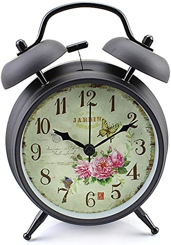 discount Konigswerk Twin Bell Alarm Clock , 4 inch Silent Analog Table online sale Desk wholesale Small Clock with Night Light, Battery Operated, for Living Room Bedroom Kitchen Home Office ( Black Case - Roses) online sale