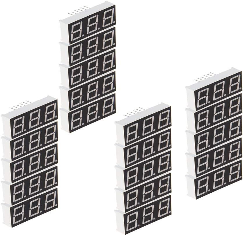 Othmro 20pcs Common Cathode LED Display Digital Tube 3 Bit 7 Segment Black 12Pin with a Good Uniform Light Output