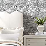 RoomMates RMK11901RL Black and White Asian Waves Peel and Stick Wallpaper
