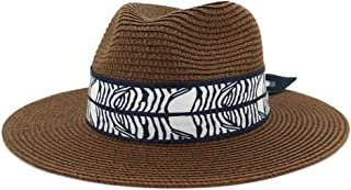 Outdoor Bucket Sun Hat Women's Summer Fashion Wide Brim Straw Sun Hat Fedora Hat Double Color Satin Bandwidth Panama Hat (Color : Coffee, Size : 56-58CM)