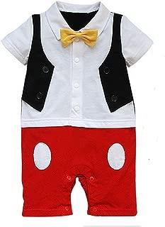 Baby Boy 3D Bowtie Photo Prop Romper Onesie Toddler Boy Cartoon Jumpsuit,  Red/White/Black, 80
