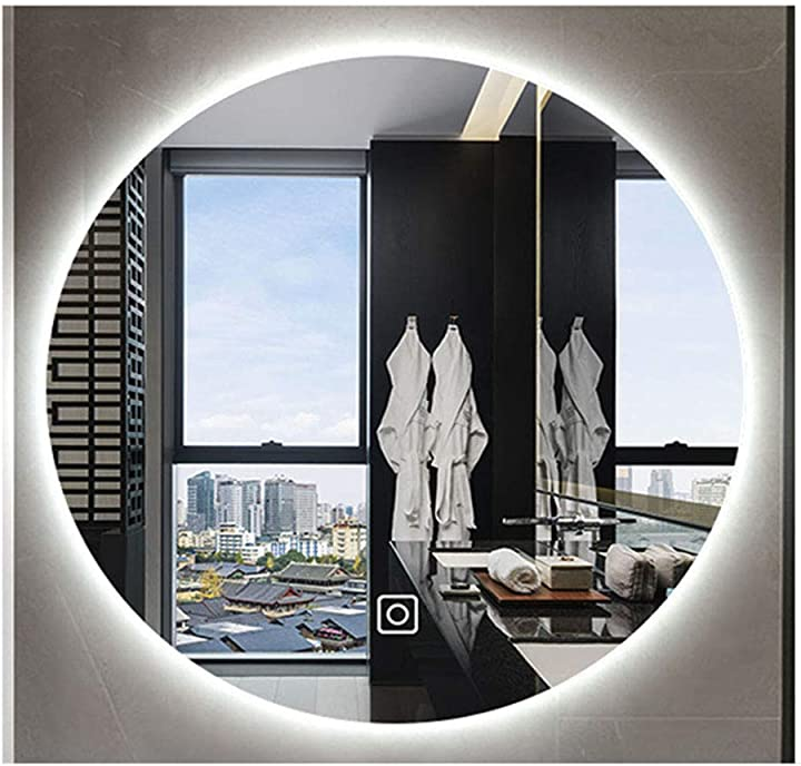 Specchio da bagno rotondo a led illuminato, appoggio con touch a parete, luce bianca naturale 60 / 70cm B07JVQD9YS
