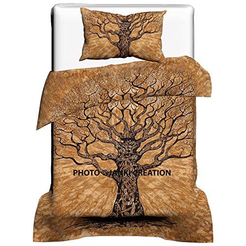 Juego de funda de edredón individual con diseño de árbol de la vida, 100 % algodón hecho a mano, funda de edredón de mandala doble con fundas de almohada 53 X 82 Inch