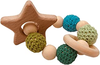 eroute66 Wooden Teether Baby Gym Rattle Teether Natural Raw Crochet Beads Toy Baby Teething Ring Chew Toy Star