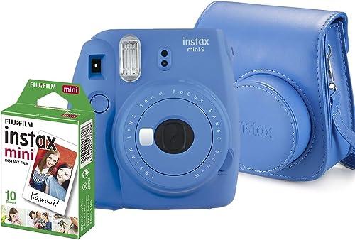 Kit Câmera Instantânea Instax Mini 9 Azul Cobalto + Filme Instax Mini 10 fotos + Bolsa Azul Cobalto, Fujifilm