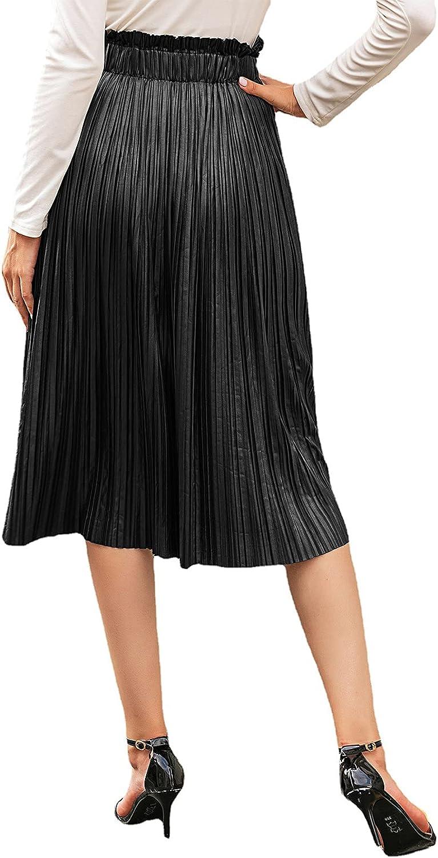 Beautisun Women's PU Leather High Waist Pleated Midi Skirt Black A-line Flared Swing Skirt