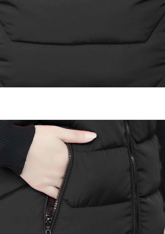 TYQQU Femmes Veste dhiver /à Capuche sans Manches Gilet Chaud Fermeture /Éclair Gilet Long Matelass/é Gilet D/écontract/é De Couleur Unie avec Poches