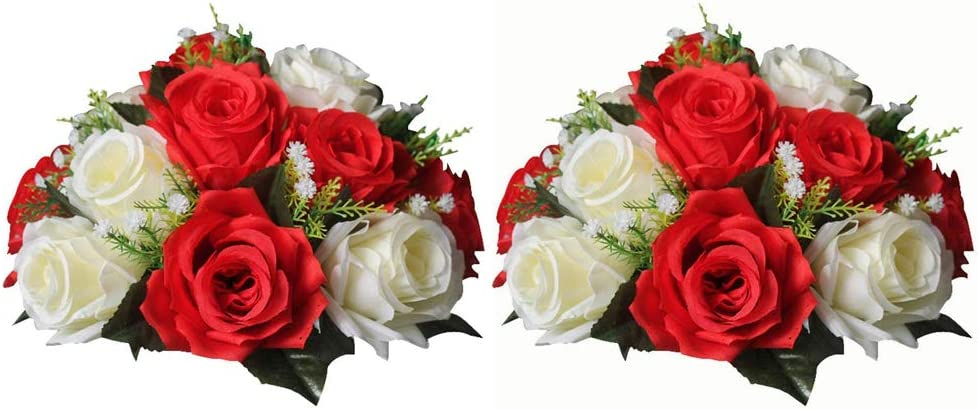 NUPTIO Pcs of 2 Fake Flower Ball Arrangement Bouquet,15 Heads Plastic Roses with Base, Suitable for Our Store's Wedding Centerpiece Flower Rack for Parties Valentine's Day Home Décor (Red & White)