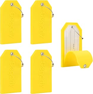 Luggage Tags, 5 PCS Set Segarty Baggage Suitcase Tag with Full Back Privacy Cover for Personal Information & Steel Loops, Bright Yellow (Yellow) - 550121_04