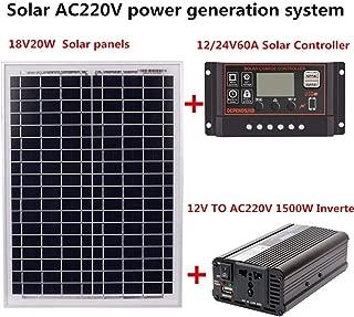 Taimot 1500W Class A Polycrystalline Bundle Solar Panel Kit with AC220V 1500W Solar Power Generation System for Outdoor Home Solar Panel 18V20W Solar Panel+Solar Controller+Inverter Kit