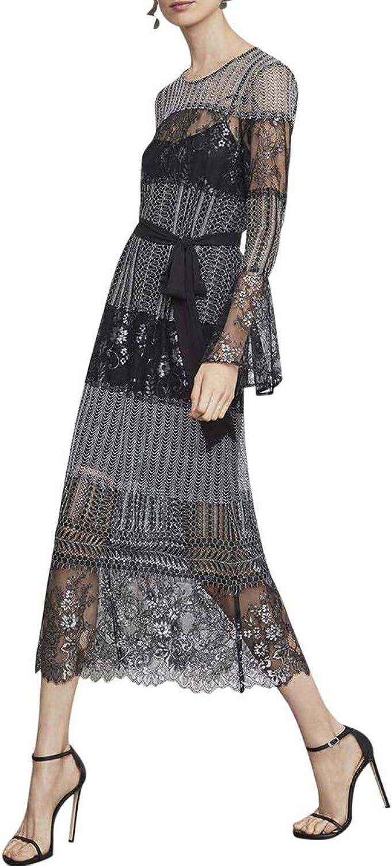 BCBG Max Azria Womens Sheer Floral Midi Dress