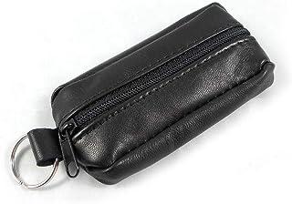 HUANG Porte-clés en cuir souple noir porte-clés sac portefeuille zippé porte-monnaie petite mini pochette avec porte-clés ...