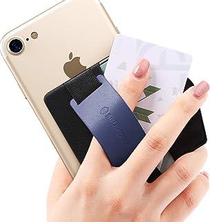 Sinjimoru スマホスタンド カード入れ、落下防止 携帯ストラップ、どこでも楽に動画 視聴できるレザースタンド、クレジットカード SUICAカードが収納できる 手帳型 スマホ カードホルダー。シンジポーチB-GRIP ネービー。