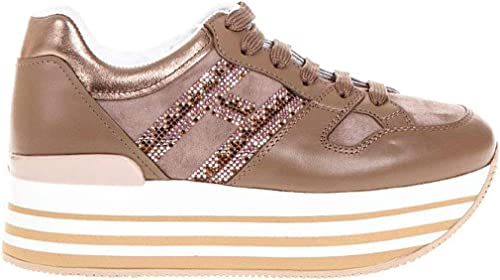 Hogan Sneakers H222 Maxi in CAMOSCIO Beige, Donna. : Amazon.it: Moda