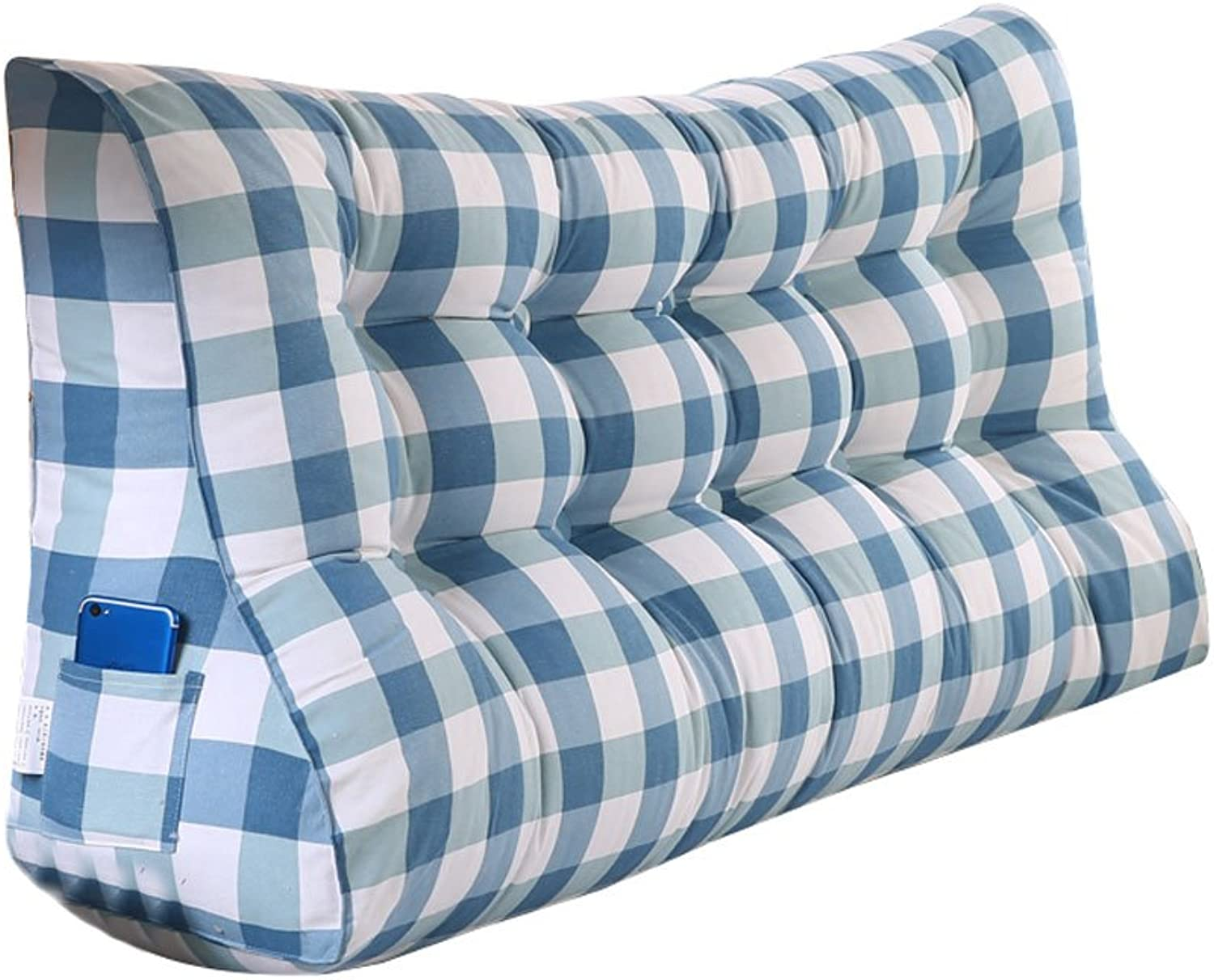 DDSS Bed cushion bluee Plaid Triangular Bed Cushion Bedside Cushion Pillow Tatami Backrest Lumbar Pillow Predection Waist Sofa Back PP Cotton  -  (Size   55CM)