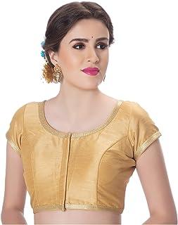 5f933f61b43d5b Rinkoo & Neckbook Womens Dupion Silk Designer Princess Cut Padded Short  Sleeves Golden Lace Border Readymade