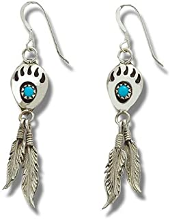 205 Ohrhänger Bärentatzen mit Türkissteinen und Federn aus Sterling Silber