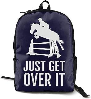 Kimi-Shop Horse Horseback Riding Jump Just Over Over It Adultos Hombres y Mujeres Deportes Unisex Mochila de Estilo Divertido