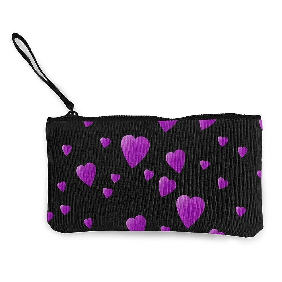 スペインポルトガル語プログラムErmiCo レディース 小銭入れ キャンバス財布 黒の愛ハートの紫色 小遣い財布 財布 鍵 小物 充電器 収納 長財布 ファスナー付き 22×12cm