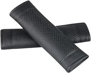 TO Design Auto Car genunie Luxury Sheepskin Wool Leather Seat Belt Covers Seat Belt Shoulder Strap Pad Black 1Pc Fit for Car,Truck,SUV Tan