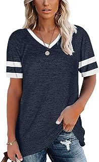 Women Short Sleeve V Neck T Shirts Color Block Tunic...