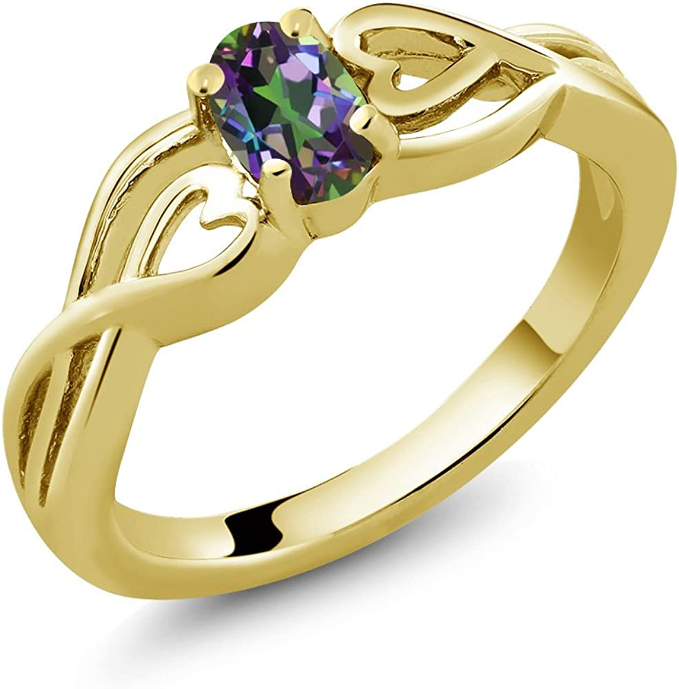 Gem Stone King 0.50 Ct Oval Green P New mail order Topaz Mystic 18K Yellow Gold 100% quality warranty