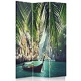 Feeby Frames Biombo Impreso sobre Lona, tabique Decorativo para Habitaciones, a una Cara, de 3 Piezas (110x150 cm), TRÓPICOS, Azul, Verde