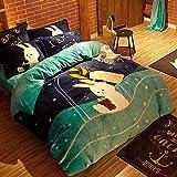 funda nordica cama 90 juveniles-Cama de franela de dibujos animados de cuatro piezas, funda de edredón de coral de doble cara gruesa de invierno, sábana de cama para niños, funda de almohada, regalo-