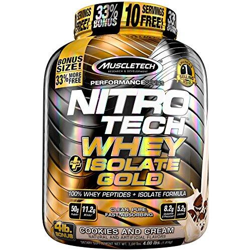 Muscletech Prestazioni Serie Nitro-Tech Whey Plus D'Oro Isolata Polvere, Biscotti E Crema - 1800 g