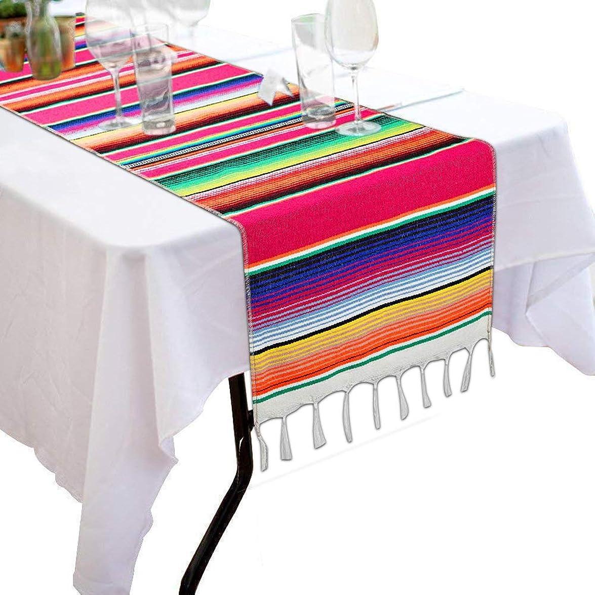 緊張する創造額Morinostation メキシカンテーブルランナー 14 x 84インチ メキシカンパーティーウェディングデコレーション フリンジコットンセラペブランケット テーブルランナー