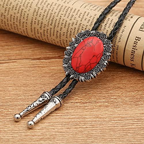 Wuyuana Bolo Tie Western Cowboy Rose Flower Turquoise Bolo Tie Collar de cuero Cuerda Unisex Accesorios Banquete Regalo Bolo Tie Tips (Color: Rojo)