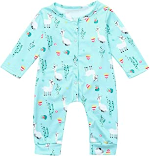 d271f33778 XXYsm Baby Strampler Jungen Mädchen Overall Pyjama Langarm Alpaka drucken  Jumpsuit Outfit Spielanzug