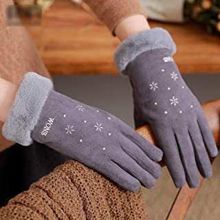 JCCOZ Touch Screen Gloves Autumn and Winter Warmth Thickening Cute Windproof Riding Students Plus Velvet Gloves (Color : D)