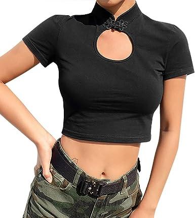 TOPKEAL Camiseta Corta de Manga Corta de Cuello Alto y Color Liso de Estilo Oriental de China para Mujer