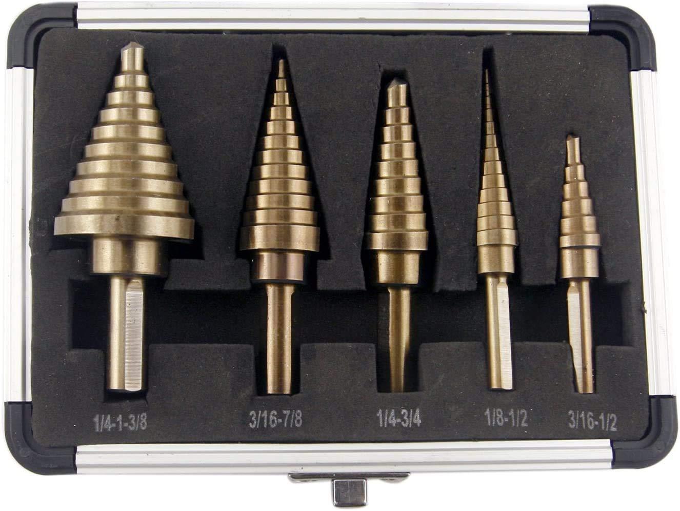Step Drill Bit Translated Safety and trust Set PANGOLIN High Speed HSS Steel D 5-Piece