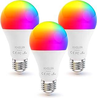 Smart Bulbs,3Pack Alexa Light Bulbs with RGB Color Changing,2.4G WiFi Bulbs A19 E26/E27 Base,No Hub Required,Smart Light Bulb Compatible with Alexa and Google Home