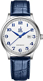 SK Business Classic Women Watch with Genuine Leather Stainless Steel Band ElegantLadies Watch