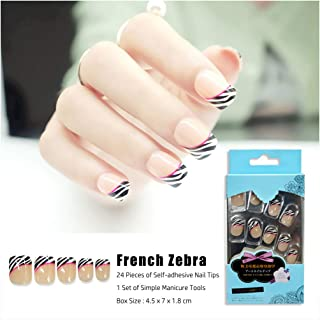 24 Pieces/Set Frech Nude Press on Nails Kit Zebra Stripe of Tiger Pattern Fake Nails Set for Women False Nail Tips with Self-adhesive Sticker DIY Manicure