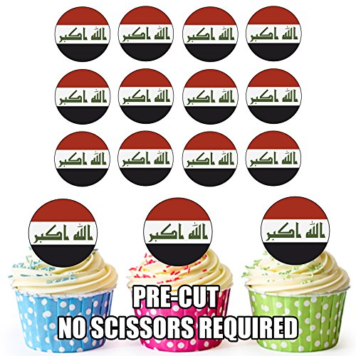 Irak Vlag - 24 Eetbare Cupcake Toppers/Verjaardag Cake Decoraties - Easy Precut Circles