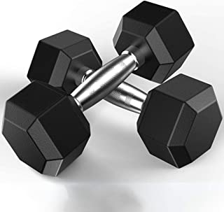 Therasoon Set of Heavy Rubber Dumbbells, Barbell Set of 2 Hex Rubber Dumbbell with Metal Handles