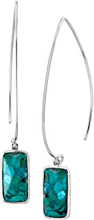 Silpada 'Oasis' Compressed Turquoise Wire Drop Earrings in Sterling Silver