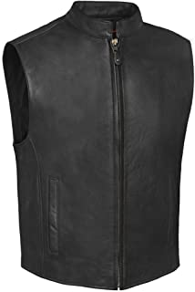 True Element Mens Single Back Panel Scooter Collar Leather Motorcycle Club Style Vest w/Concealed Carry Pockets (Black, Size M)